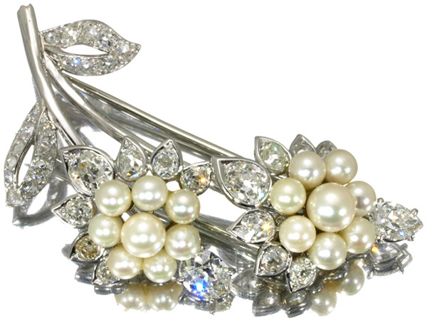 【超大幅値下げ品!】Cartier カルティエ パール ダイヤ ダイヤモンド アールデコ アンティーク品 ブローチ K18WG 【中古】BLJ