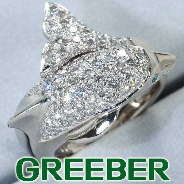 ブルー&クリアダイヤ ダイヤモンド 1.12ct イルカ リング 指輪 K18WG【中古】GENJ
