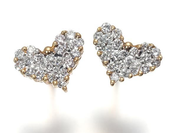 ハートパヴェ ダイヤ ダイヤモンド 0.25ct ピアス K18PG/WG【中古】GENJ