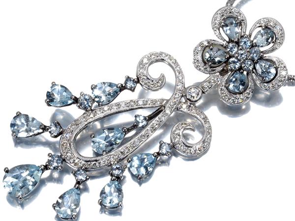 アクアマリン 3.58ct ダイヤ ダイヤモンド 0.44ct ネックレス K18WG 鑑別書【中古】GENJ