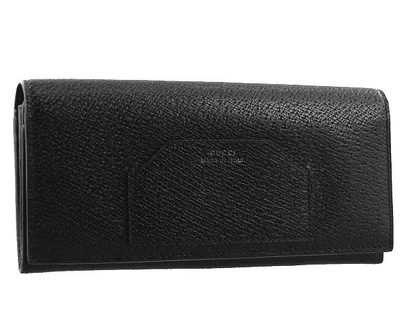 グッチ 二つ折り 長財布 レザー ブラック 322104 未使用品 【中古】BSK