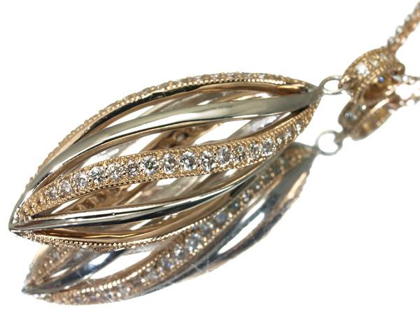 【超大幅値下げ品!】ダイヤ ダイヤモンド 0.50ct ネックレス K18PG/Pt900/Pt850/プラチナ 【中古】GENJ