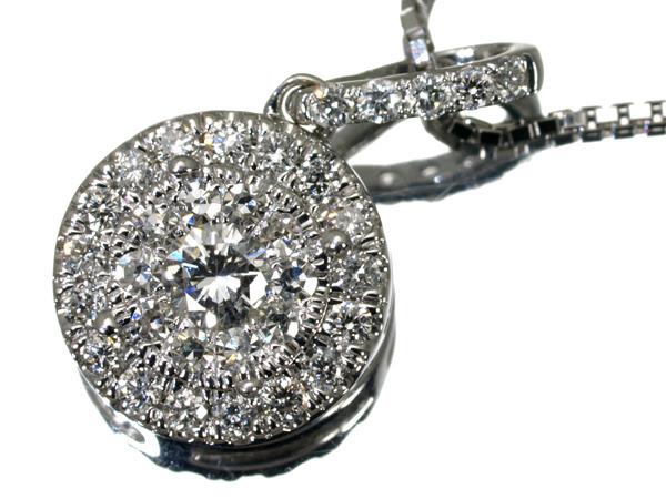 ダイヤ ダイヤモンド 0.35ct サークルデザイン ネックレス K18WG 【中古】GENJ
