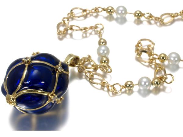 【超大幅値下げ品!】エナメル装飾 ダイヤ ダイヤモンド パール ネックレス K18YG 【中古】GENJ
