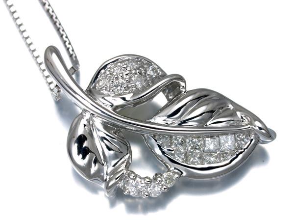 【超大幅値下げ品!】ダイヤ ダイヤモンド リーフ 葉デザイン ネックレス K18WG 【中古】GENJ