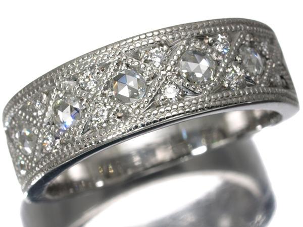 【超大幅値下げ品!】ダイヤ ダイヤモンド 2種カット輝く リング K18WG 【中古】GENJ