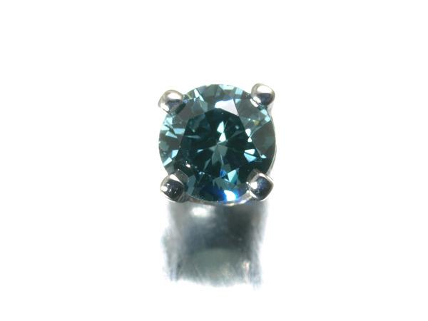 【超大幅値下げ品!】一粒ダイヤ ダイヤモンド トリートブルー  ピアス K18WG 片方 【中古】GENJ