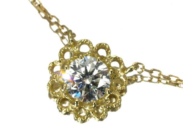 【超大幅値下げ品!】AHKAH アーカー 一粒ダイヤ ダイヤモンド 0.10ct ネックレス K18YG 【中古】BLJ