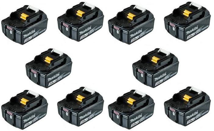 【お買い得】 日本使用 マキタ純正 (正規品)バッテリー BL1830B 18V 3.0Ah 10個セット リチウムイオン電池 残容量表示付 高容量 わけあり