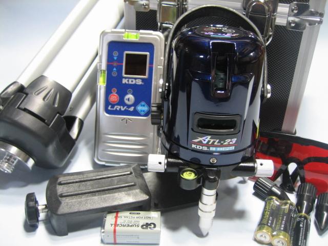KDSレーザーレベル墨だし器  ATL-23 本体・受光器・三脚セット 1年保証付 縦・横・地墨