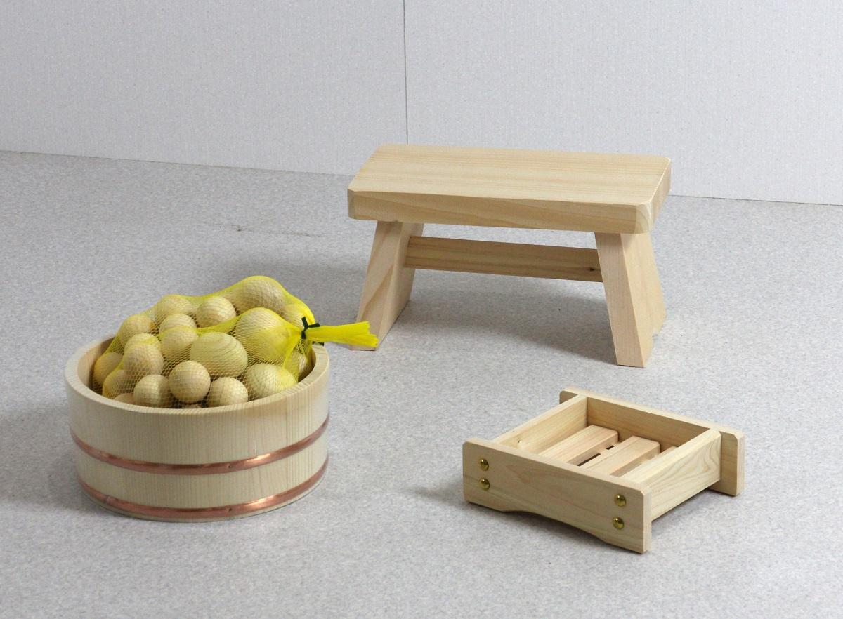 木の湯4点セット 湯玉増量タイプ (湯桶+風呂イス+石けん台+ひのき湯玉2セット)