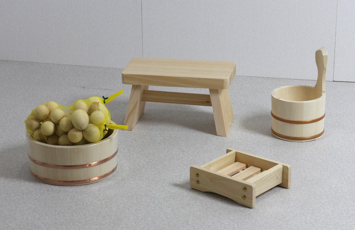 木の湯5点セット 湯玉増量タイプ (湯桶+片手湯桶+風呂イス+石けん台+ひのき湯玉2セット)