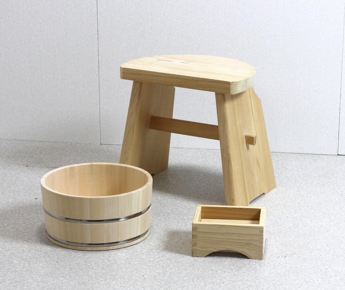 風呂桶 湯桶 いす 石けんトレイ ひのきの湯3点セット (湯桶+ハイタイプ風呂イス+石けん台)ひのき風呂