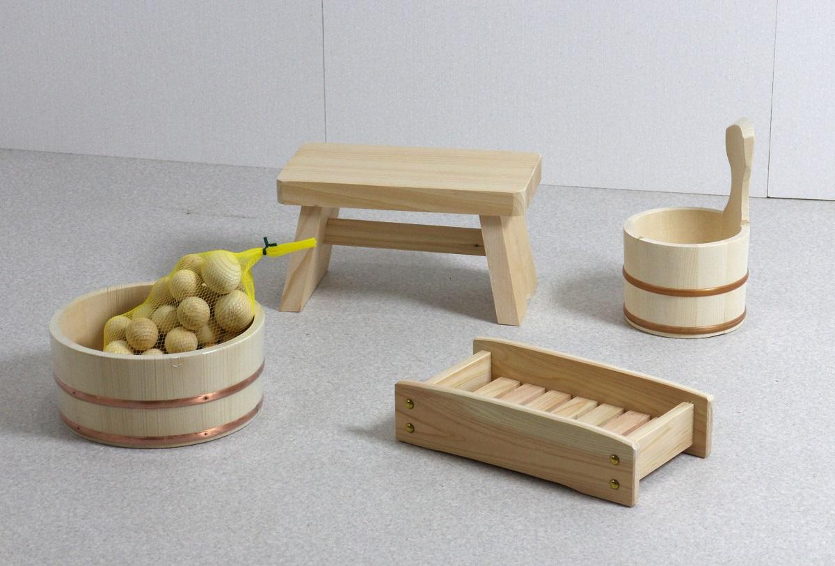 木の湯5点セット (湯桶+片手湯桶+風呂イス+シャンプー台+ひのき湯玉)
