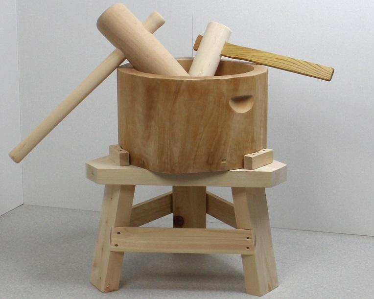 【専用木台付き】木製臼杵セット1.5升用(北海道の天然木使用)+子ども用ミニ杵つき 餅つき セット 臼 杵