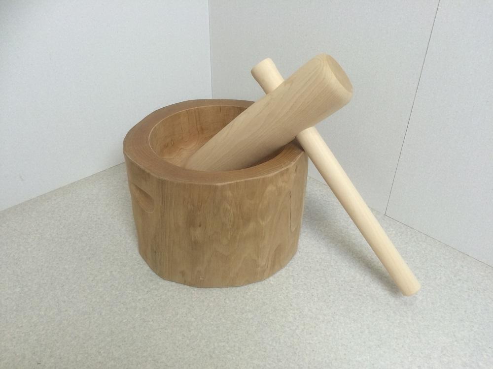 木製臼杵セット5合用(北海道の天然木使用)餅つき キネ 臼 餅つきセット 家庭用