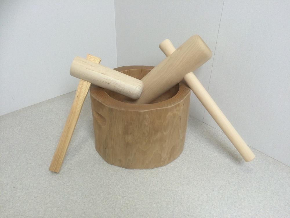 餅つき セット 木製臼杵セット5合用(北海道の天然木使用)+子ども用ミニ杵 臼 キネ