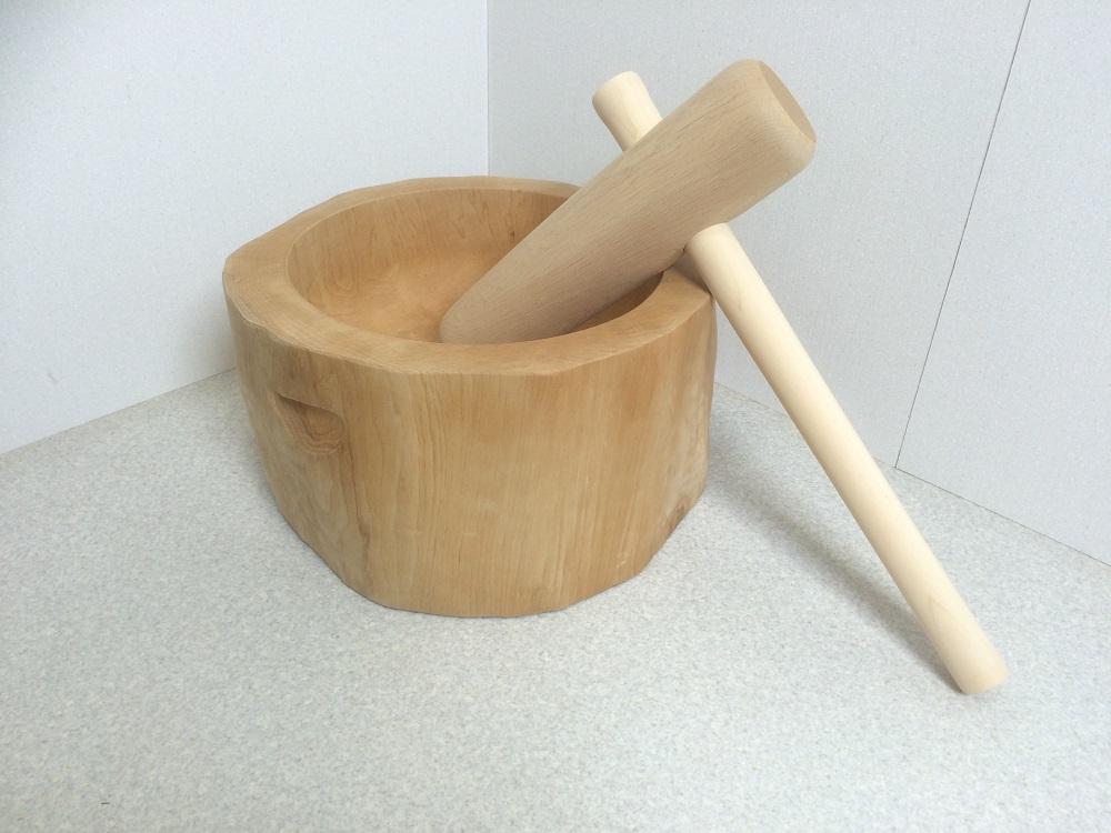 木製臼キネセット 1.5升用 餅つきセット 家庭用(北海道の天然木使用)