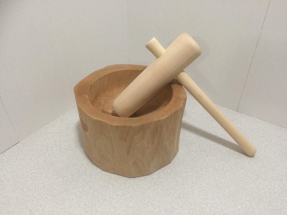 木製臼杵セット1升用(北海道の天然木使用)餅つき セット 臼 杵 キネ