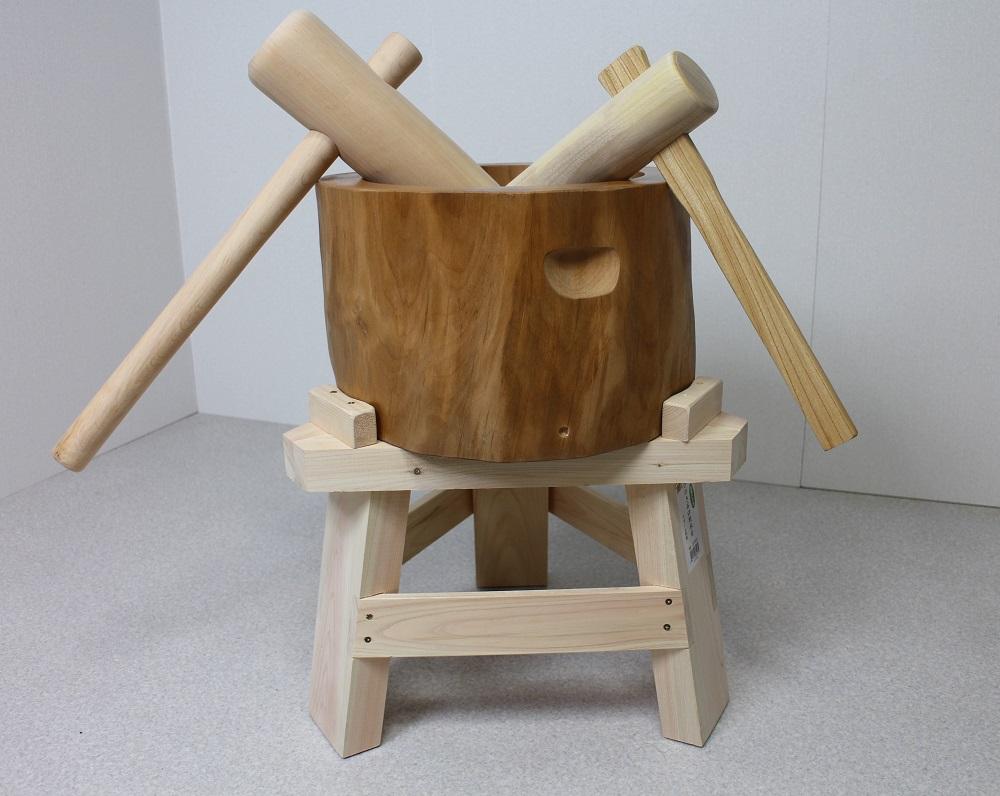 【専用木台付き】木製臼杵セット1升用(北海道の天然木使用)+子ども用ミニ杵つき 餅つき セット 子ども用 臼 杵 キネ