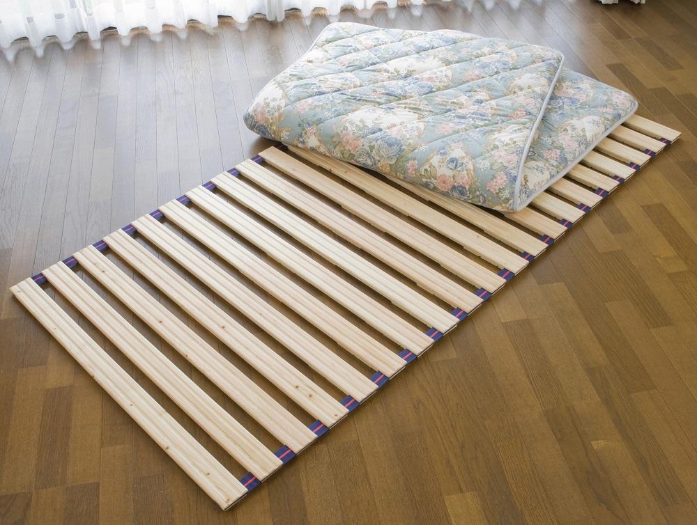 すのこ ベッド 国産 ひのき すのこ ロールベッド シングル100cm幅 ベルト付き 日本製 すのこベッド 折りたたみ 送料無料