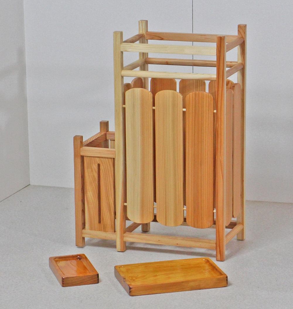 傘立て 木製 天然木製傘立て 二連タイプ 職人による手作り ナチュラル 傘 スタンド 日本製