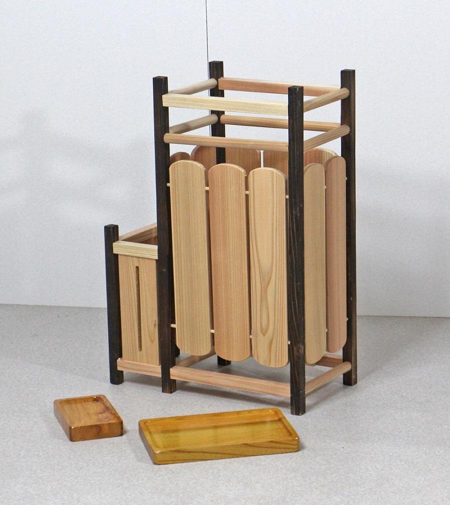 傘立て 木製 天然木製傘立て 二連タイプ 傘 スタンド 和風 日本製