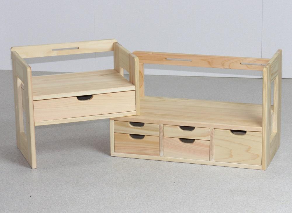 日本製 ひのきスライド本立て小物入れ 45-72cm幅