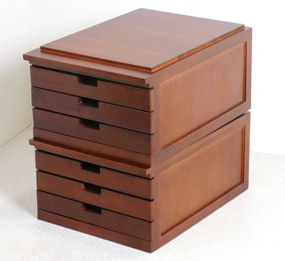 書類棚 書類 整理棚 引き出し 木製 収納 3段引き出し A3用 【2段組】【送料無料】