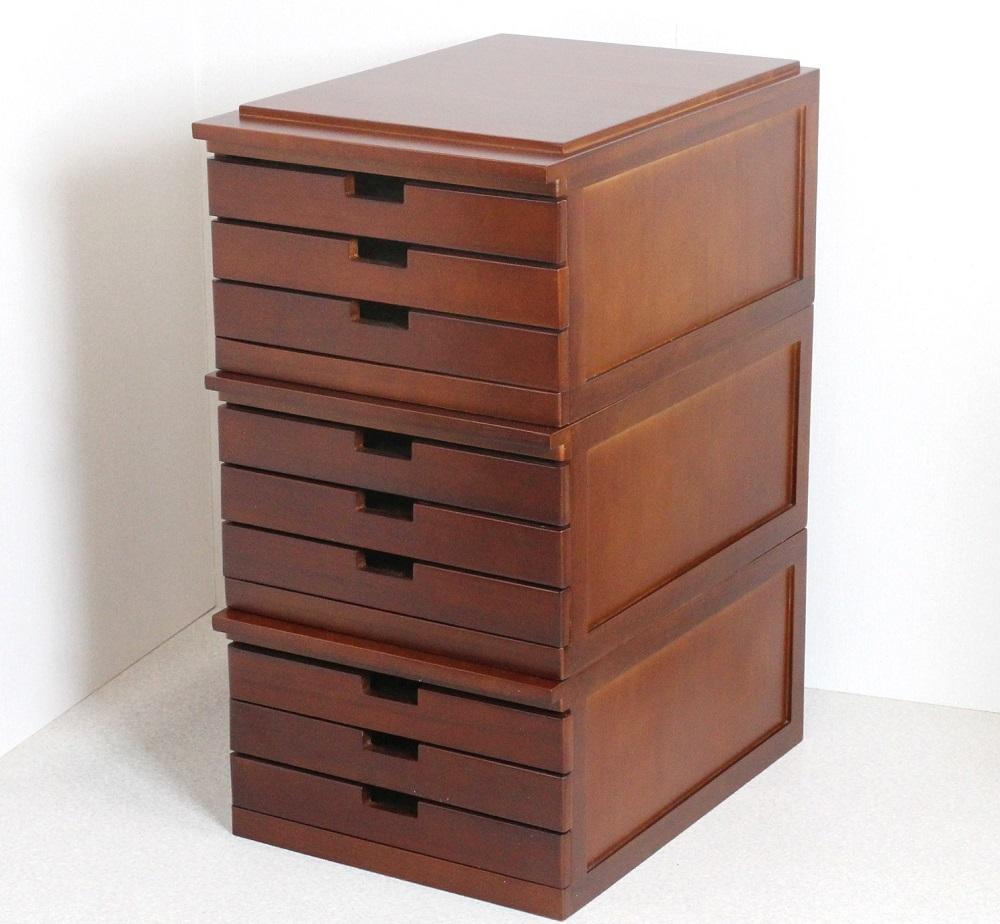 桐製書類棚 書類 収納棚 3段引き出し A3用 【3段組】木製 整理箱【送料無料】