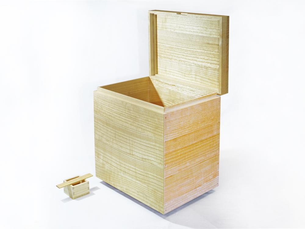 日本製 会津桐 本格桐米びつ 30kg用 キャスター付き 一合升付 奥会津産会津桐使用