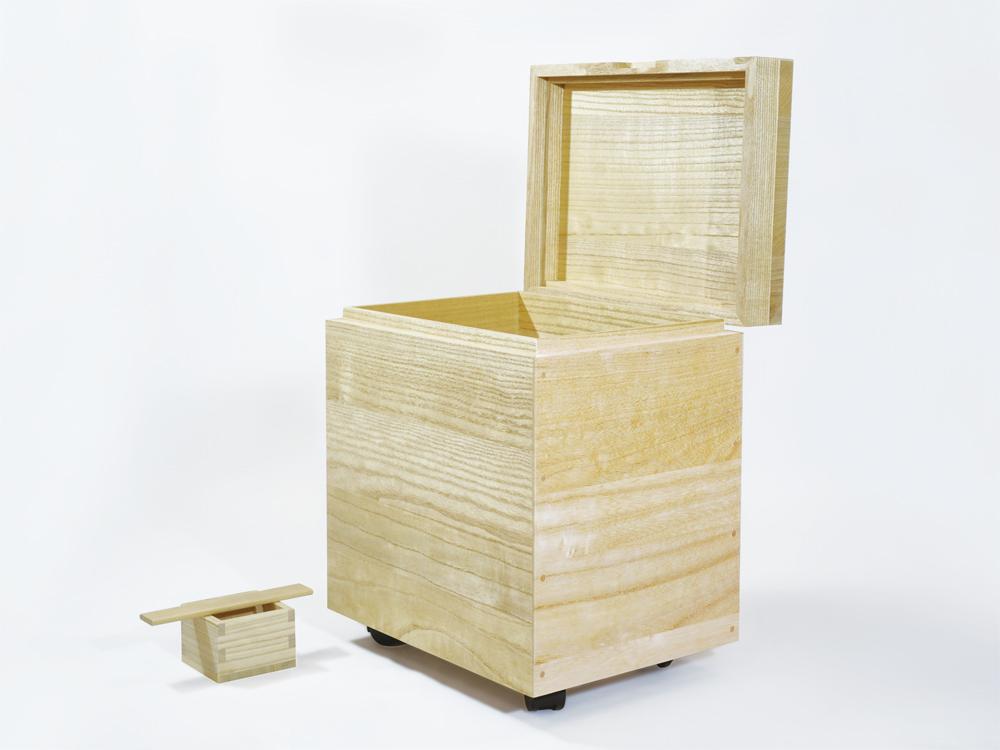 日本製 会津桐 本格桐米びつ 10kg用 キャスター付き 一合升付 奥会津産会津桐使用