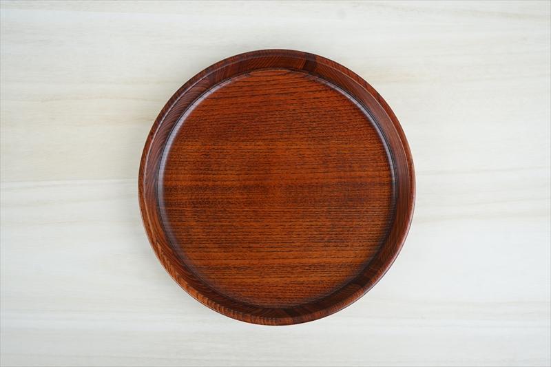 お歳暮 天然木の温かさと漆の輝き 在庫処分 漆器 卓出 丸盆 天然木 茶盆 直径27.5cm 漆塗り