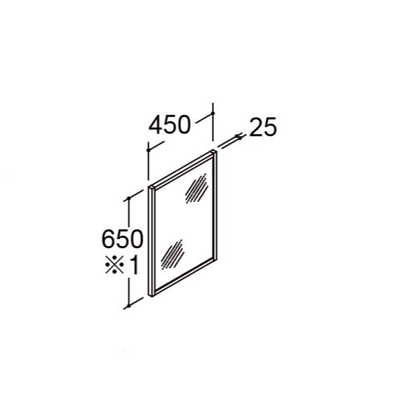 ★ミラーキャビネット リフラ 間口450mm 高さ650mm 照明なし 木枠付1面鏡 くもり止めコートなし MNS-451K-F LIXIL INAX★【送料無料】