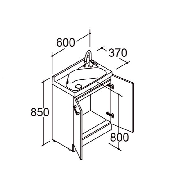 洗面化粧台 リフラ 間口600mm 単水栓 立水栓 ゴム栓 LIXIL INAX 爆安 マルチトラップ 春の新作続々 水栓右タイプ 送料無料 FRVN-603R-M