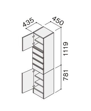 ★パナソニック シーライン CLine D450タイプ サイドキャビネット 幅450mm 上・下開き XGQC45S4KR(L)□ 65%OFF★