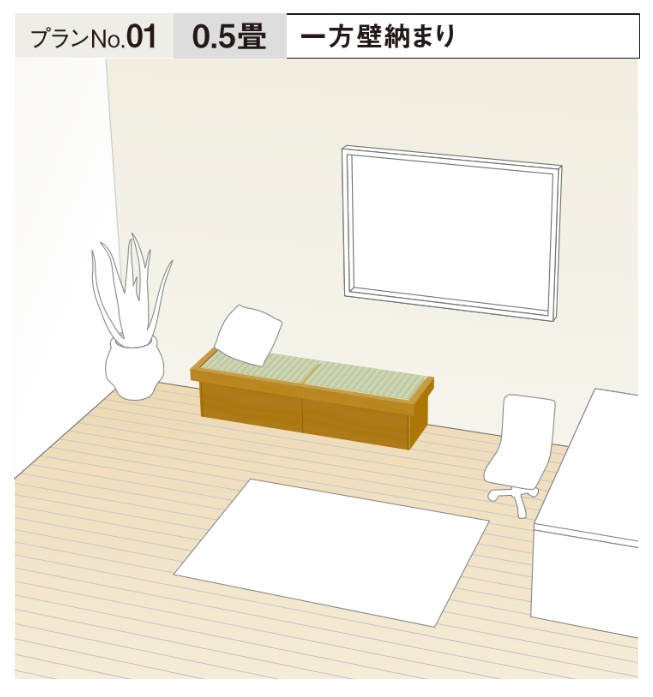 ★畳が丘 プランNo.1 一方壁納まり 0.5畳 パナソニック 畳 くつろぎ 収納 リフォーム DIY★