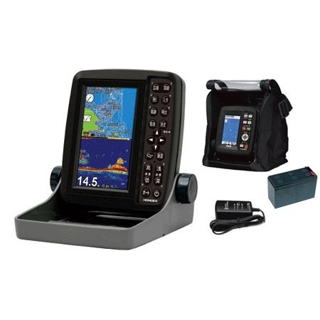 ホンデックス(HONDEX) 魚群探知機 PS-611CN〈5型ワイドカラー ポータブルGPS内蔵プロッター魚探〉バリューセット 遮光フード付き