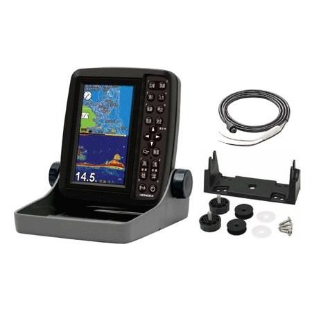 ホンデックス(HONDEX) 魚群探知機 PS-611CN〈5型ワイドカラー ポータブルGPS内蔵プロッター魚探〉電源コード・架台セット 遮光フード付き