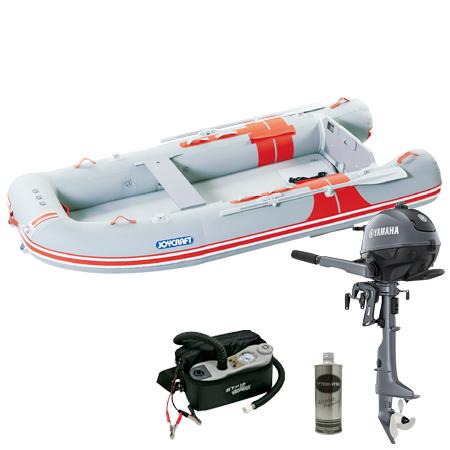 ゴムボート5人乗り 船外機セット ジョイクラフト オレンジペコ323ワイド(予備検査無)+ヤマハ2馬力4ストローク船外機