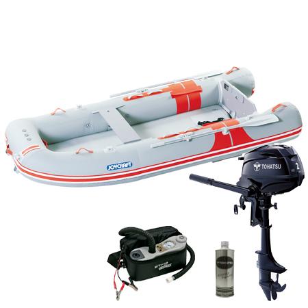 ゴムボート5人乗り 船外機セット ジョイクラフト オレンジペコ323ワイド(予備検査無)+トーハツ2馬力4ストローク船外機