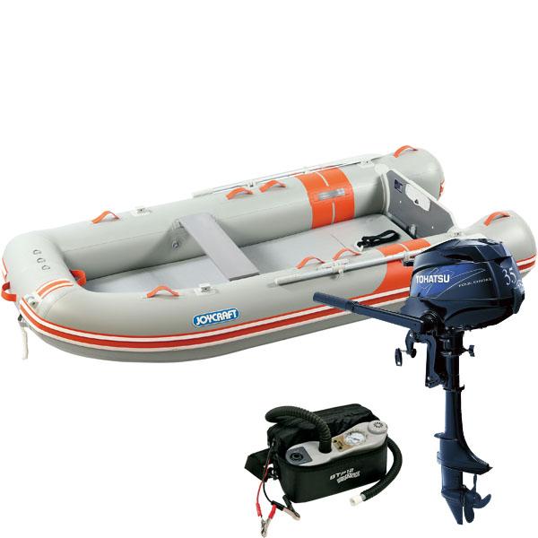 ゴムボート5人乗り 船外機セット ジョイクラフト オレンジペコ323ワイド(予備検査付)+トーハツ3.5馬力4ストローク船外機