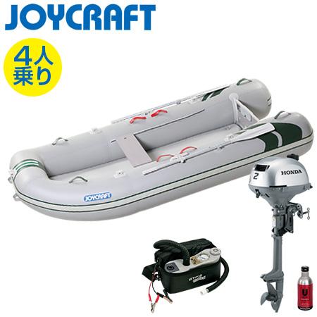 ゴムボート4人乗り 船外機セット ジョイクラフト J-キャット305(超高圧電動ポンプ付)+ホンダ2馬力4ストローク船外機