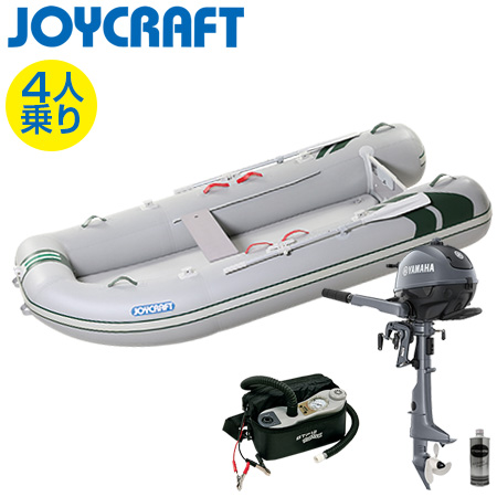 ゴムボート4人乗り 船外機セット ジョイクラフト J-キャット305(超高圧電動ポンプ付)+ヤマハ2馬力4ストローク船外機