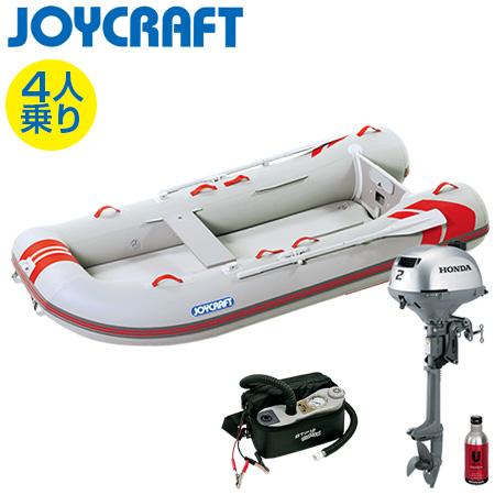 ゴムボート4人乗り 船外機セット ジョイクラフト レッドキャップ300(超高圧電動ポンプ付)+ホンダ2馬力4ストローク船外機