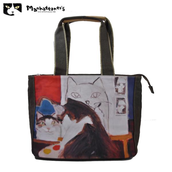 【送料無料】【宅配便配送】【レターパック不可】マンハッタナーズ Manhattaner's  キャンバス・トート  「画家フェデリコ、自画像を描く」【ファッション】【久下貴志】【アート】【ブランド】【NY】【猫】【バッグ】
