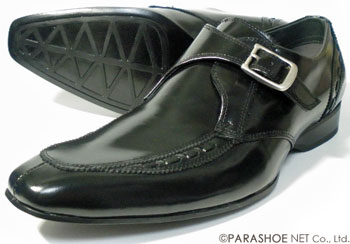 ALFRED JONES 本革 モンクストラップ ビジネスシューズ 黒 ワイズ3E(EEE)/メンズ・革靴・紳士靴