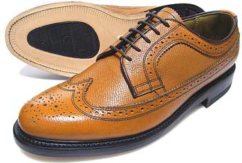 TUFF(タフ)British Classic 本革底 ウィングチップ ビジネスシューズ(型押)茶色 ワイズ(幅)3E(EEE)27.5cm、28cm(28.0cm)、29cm(29.0cm)/大きいサイズ・革靴・紳士靴