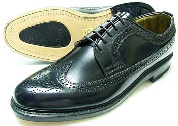 British Classic 本革底 ウィングチップ ビジネスシューズ 黒 3E(EEE)/メンズ・革靴・紳士靴
