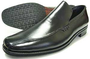 人間讃歌 KANSAI YAMAMOTO 本革 ヴァンプ スリッポン ビジネスシューズ 黒 3E(EEE)~4E(EEEE) 27.5cm、28cm(28.0cm)、28.5cm、29cm(29.0cm)、29.5cm、30cm(30.0cm)/大きいサイズ・メンズ・革靴・紳士靴